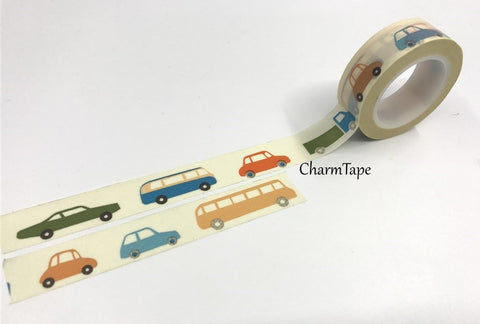 Colorful cars Washi Tape 1.5cm x 10 meters WT692 - CharmTape - 1