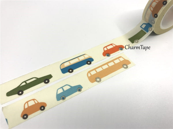 Colorful cars Washi Tape 1.5cm x 10 meters WT692 - CharmTape - 2
