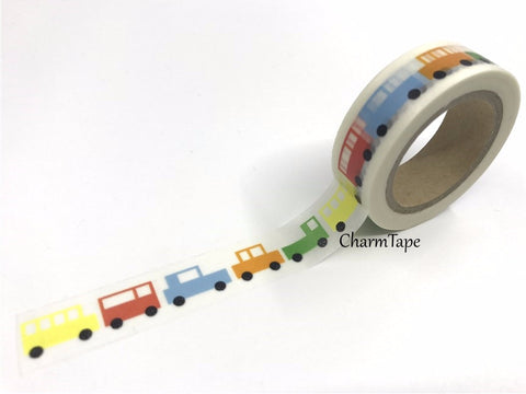 Colorful cars Washi Tape 1.5cm x 10 meters WT617 - CharmTape