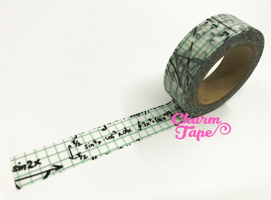 GREEN ALGEBRA Washi Tape 1.5 cm x 10 meters WT115 - CharmTape - 1