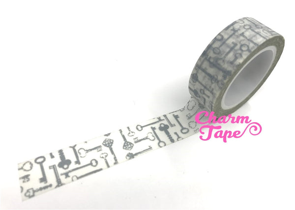 Silver Antique Keys Washi Tape 15mm x 10m WT384 - CharmTape - 1
