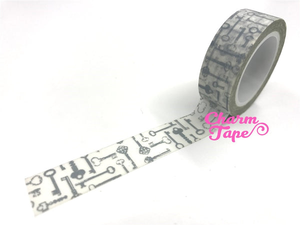 Silver Antique Keys Washi Tape 15mm x 10m WT384 - CharmTape - 2
