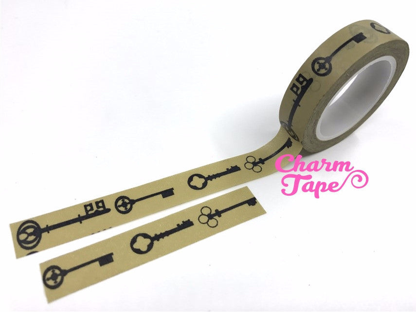 Antique key silhouette Washi tape 10mm x 10m WT489 - CharmTape - 1