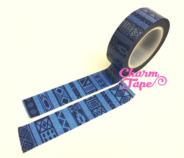Washi tape - Blue ethnic print WT488 - CharmTape - 1