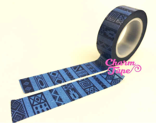 Washi tape - Blue ethnic print WT488 - CharmTape - 2