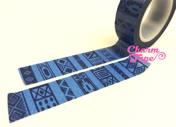 Washi tape - Blue ethnic print WT488 - CharmTape - 3
