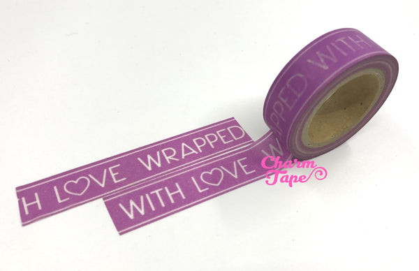 Purple Washi Tape 'Wrapped with love' 15mm x 10m WT321 - CharmTape - 1