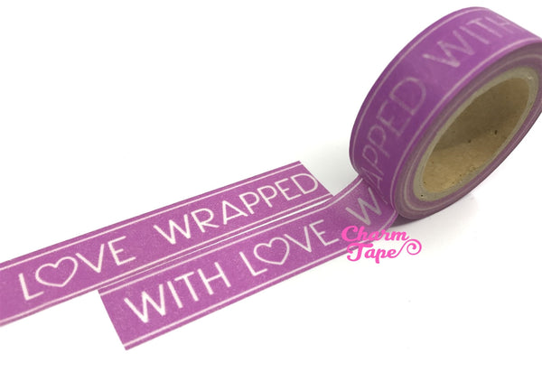 Purple Washi Tape 'Wrapped with love' 15mm x 10m WT321 - CharmTape - 2