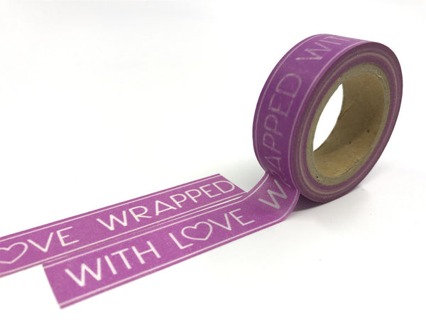 Purple Washi Tape 'Wrapped with love' 15mm x 10m WT321 - CharmTape - 3