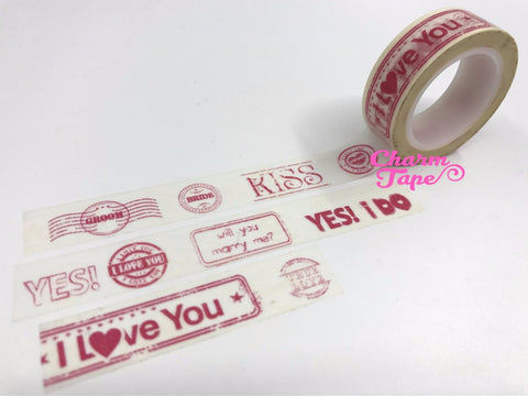 Wedding Washi tape 15mm - Yes I Do 10 meters WT1083