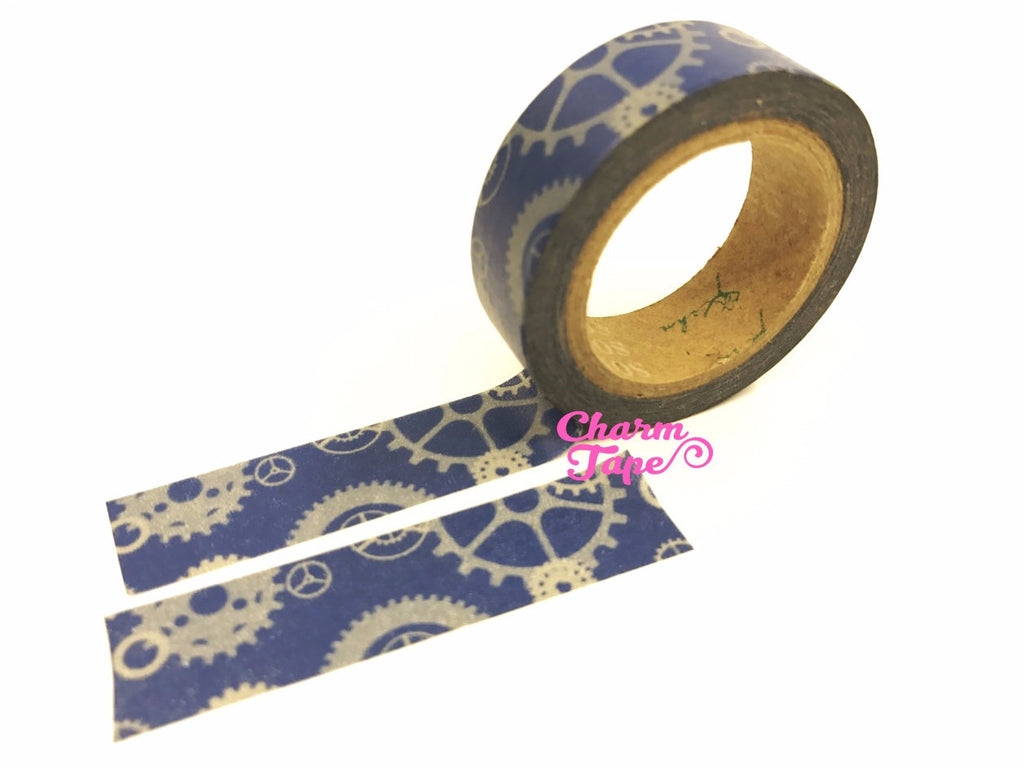 Machanic Parts on blue Washi Tape 15mm x 10m WT119