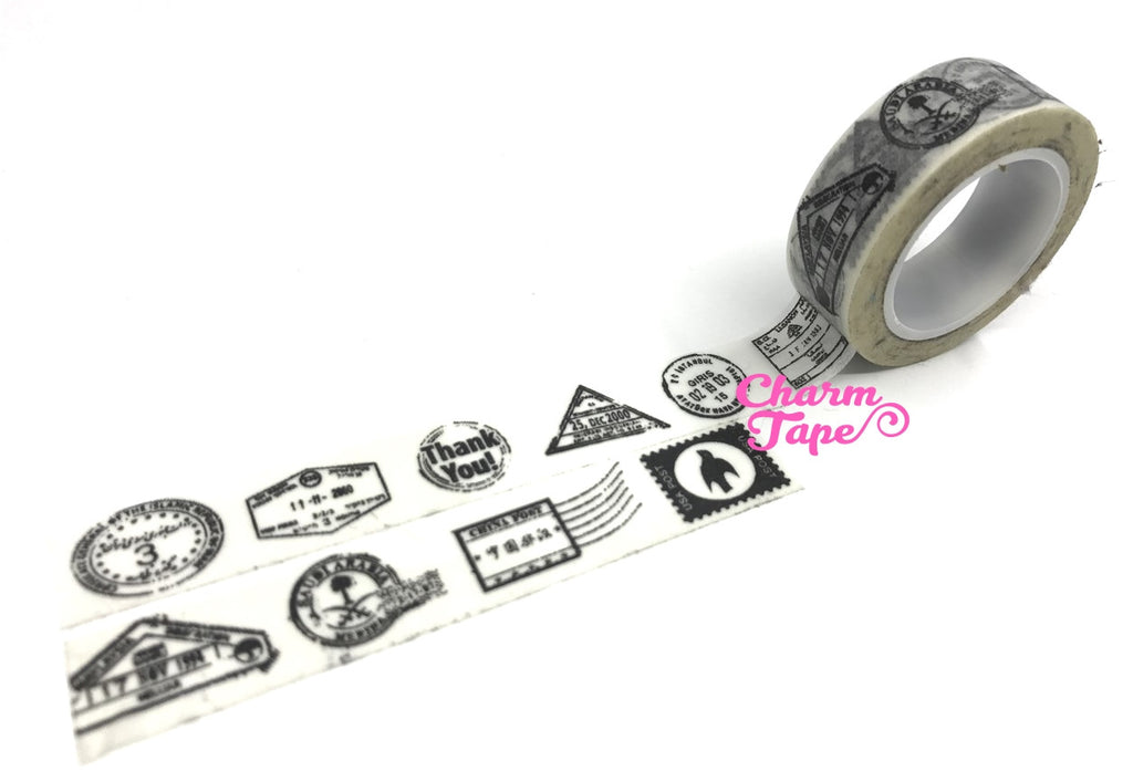 Postal Stamp on White Washi Tape 15mm x 10m WT900 - CharmTape - 1