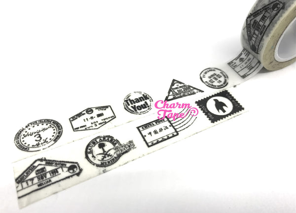 Postal Stamp on White Washi Tape 15mm x 10m WT900 - CharmTape - 2