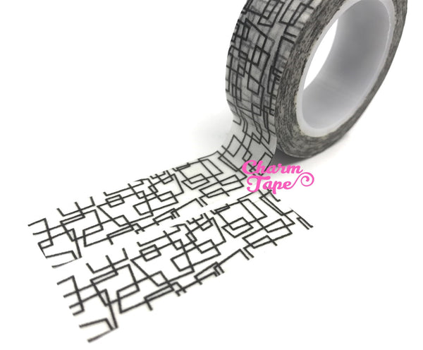 Geometric Washi Tape Roll 15mm x 10m black & white WT438