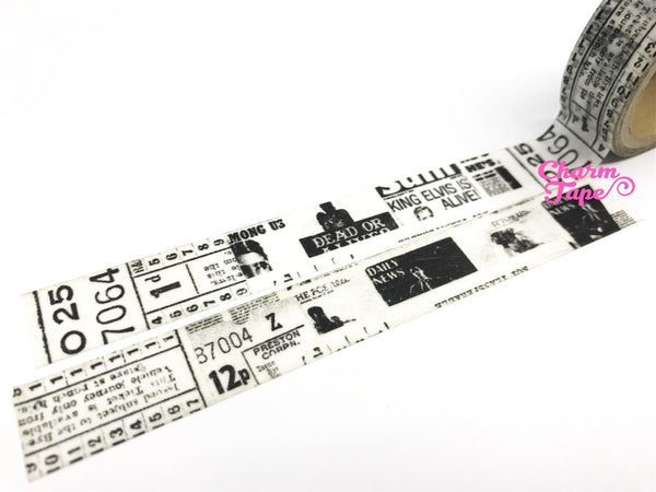 Black & White newspaper inspired Washi Tape 15mm x 10 meters WT311