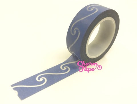 Blue & white swirl Washi Tape 15mm WT527 - CharmTape