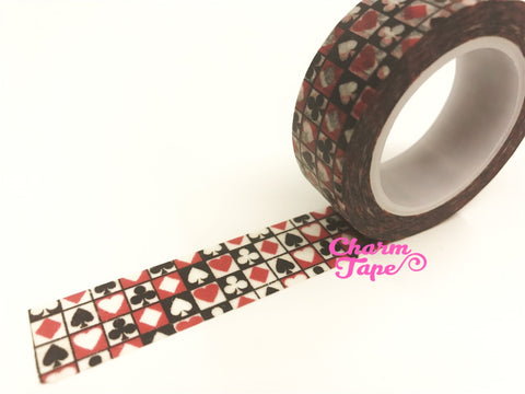 Alice In Wonderland Spade & Red Hearts Washi Tape 15mm x 10m WT53