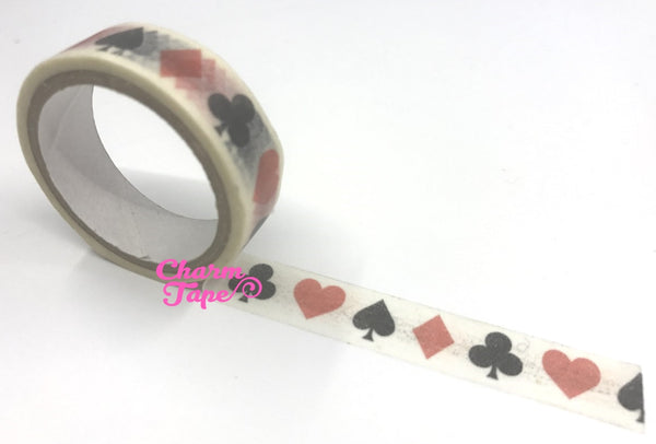 Washi Tape - Alice in wonderland spade & heart 2 rolls 15mm WT660