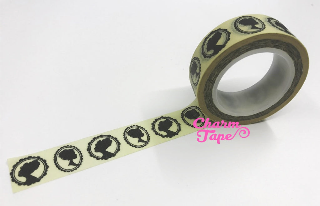 Victorian Lady Cameo silhouette Washi Tape 15mm x 10m WT4 - CharmTape - 1