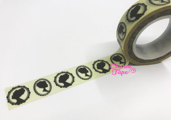 Victorian Lady Cameo silhouette Washi Tape 15mm x 10m WT4 - CharmTape - 2