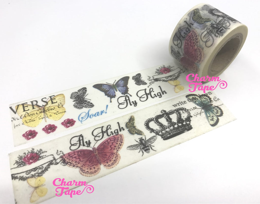 Butterfly Big Washi Tape - 30mm x 10m WT1019 - CharmTape - 1