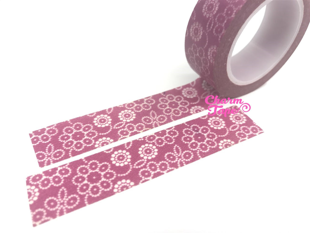 White floral on maroon Washi Tape 15mm x 10m WT533 - CharmTape - 3