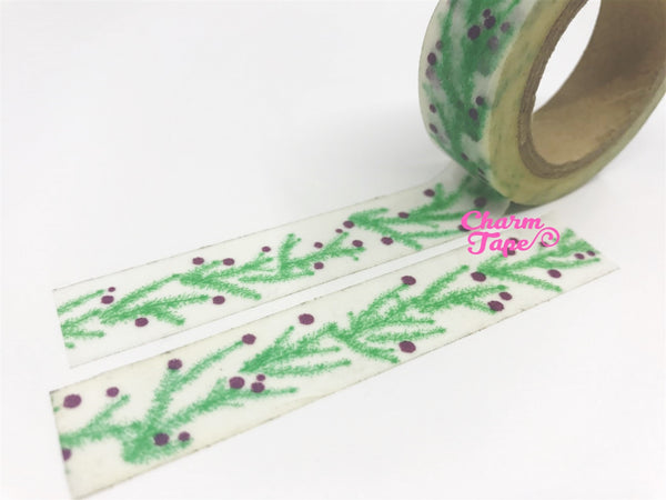 Washi tape Festive Ferns & Berry 15mm x 10meters WT733 - CharmTape - 3