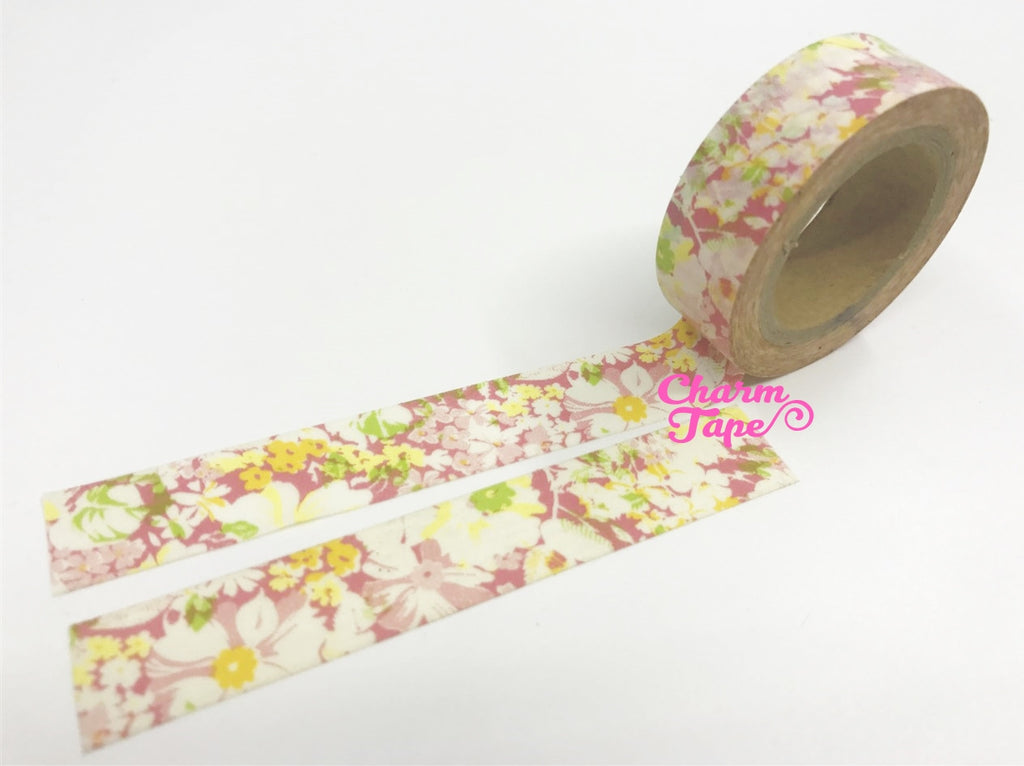 Flowers Washi Tape 15mm x 10m WT47 - CharmTape - 1
