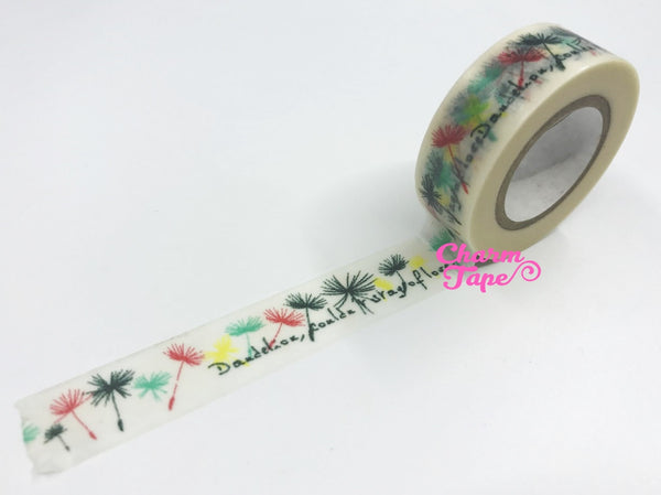 Washi tape Dandelion Flowers - 15mm Wide 10 meters WT1020 - CharmTape - 2