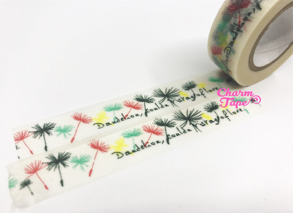 Washi tape Dandelion Flowers - 15mm Wide 10 meters WT1020 - CharmTape - 1