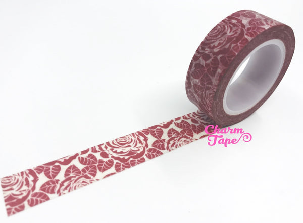 Maroon Rose Washi Tape 15mm x 10m WT439 - CharmTape - 2