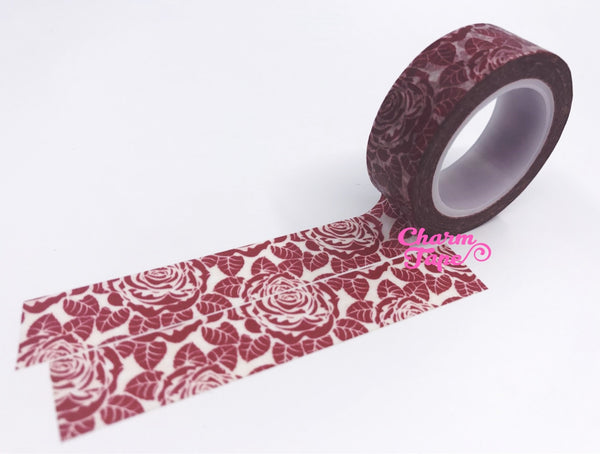 Maroon Rose Washi Tape 15mm x 10m WT439 - CharmTape - 3