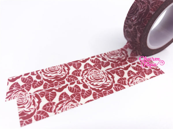 Maroon Rose Washi Tape 15mm x 10m WT439 - CharmTape - 1