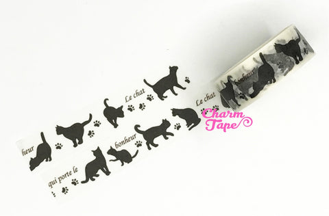 Black Cat Washi Tape 15mm x 10 meters WT982 - CharmTape - 1