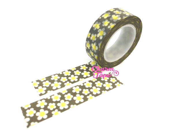 White daisy on grey Washi Tape 10m x 15mm WT353 - CharmTape - 2