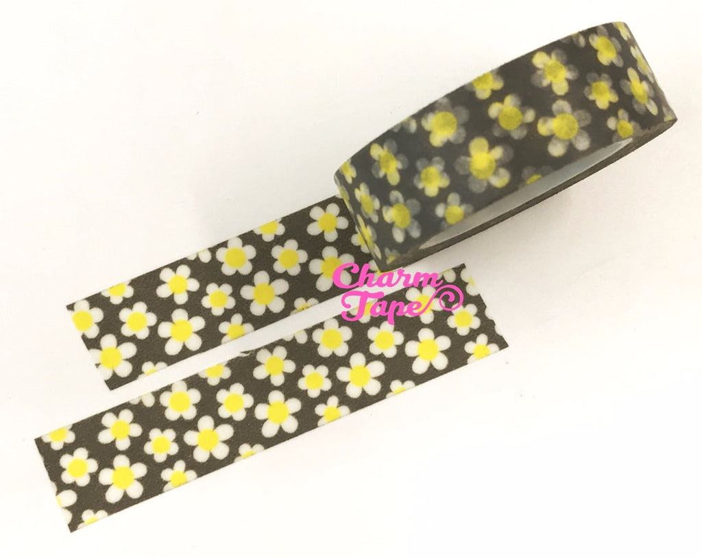 White daisy on grey Washi Tape 10m x 15mm WT353 - CharmTape - 1