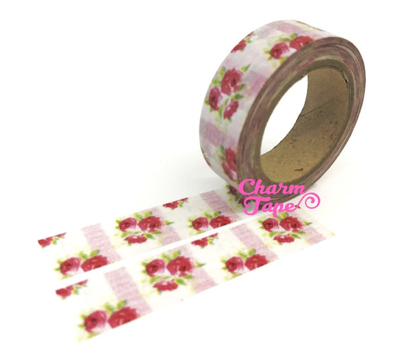 Washi Tape - Red Roses & Pink stripes 15mm x 10m WT614 - CharmTape - 2