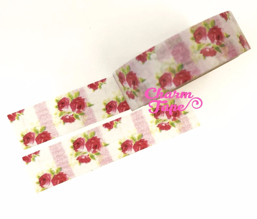 Washi Tape - Red Roses & Pink stripes 15mm x 10m WT614 - CharmTape - 3
