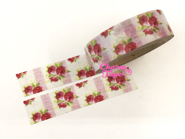 Washi Tape - Red Roses & Pink stripes 15mm x 10m WT614 - CharmTape - 1