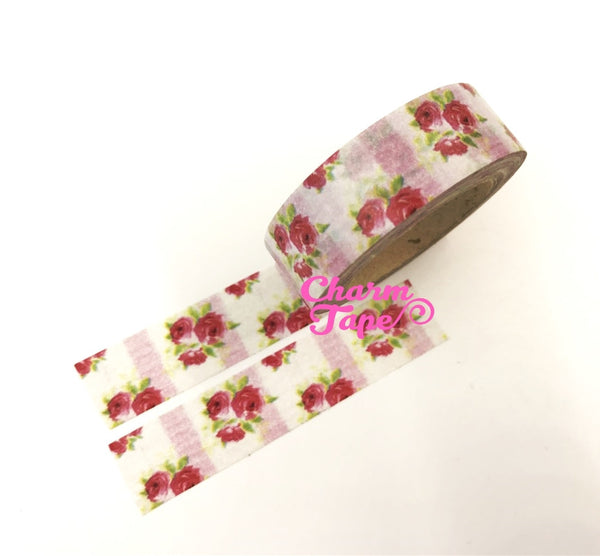 Washi Tape - Red Roses & Pink stripes 15mm x 10m WT614 - CharmTape - 4