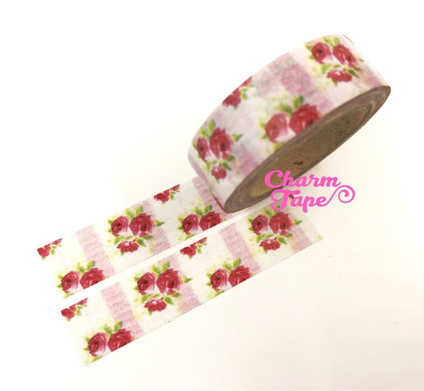 Washi Tape - Red Roses & Pink stripes 15mm x 10m WT614 - CharmTape - 5