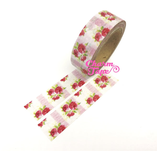 Washi Tape - Red Roses & Pink stripes 15mm x 10m WT614 - CharmTape - 6