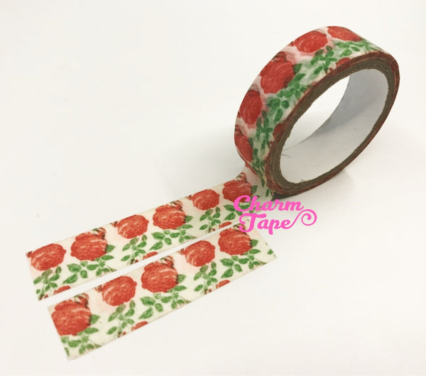 Washi tape - Red roses & Leaf 2 Rolls WT465 - CharmTape - 2