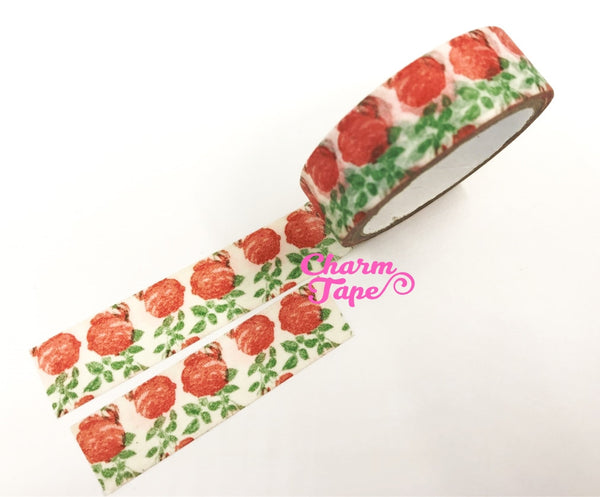 Washi tape - Red roses & Leaf 2 Rolls WT465 - CharmTape - 1