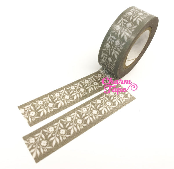 Grey Washi Tape - Floral Motif 15mm x 10 meters WT584 - CharmTape - 2