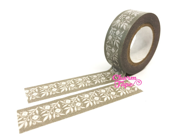 Grey Washi Tape - Floral Motif 15mm x 10 meters WT584 - CharmTape - 3