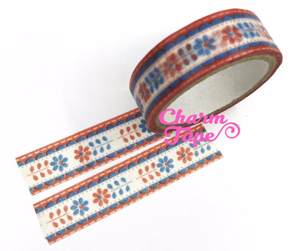 Hungarian embroidery Flower Washi Tape 2 rolls WT659 - CharmTape - 1