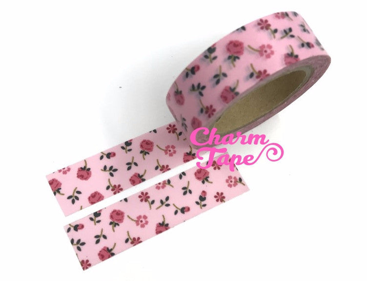 Pink Roses - Washi Tape 15mm x 10 meters WT829 - CharmTape - 1