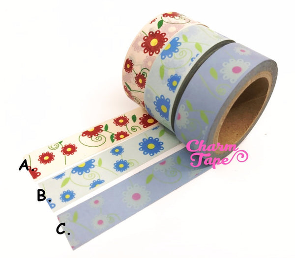 Daisy Flower Washi Tape 15mm x 10m WT202 - CharmTape - 1