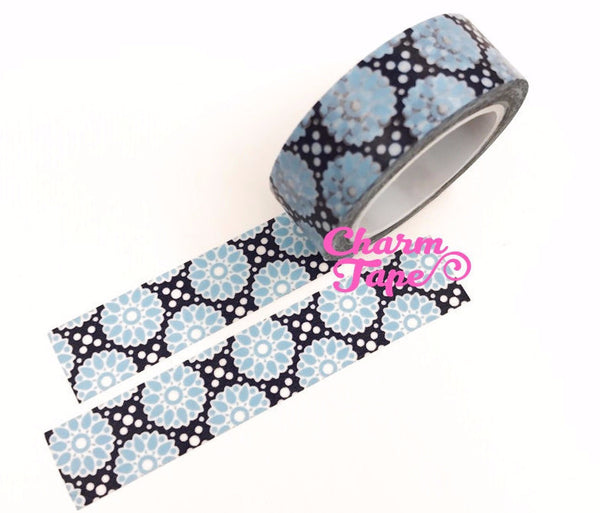 Blue floral pattern Washi Masking Tape 15mm WT397 - CharmTape - 1